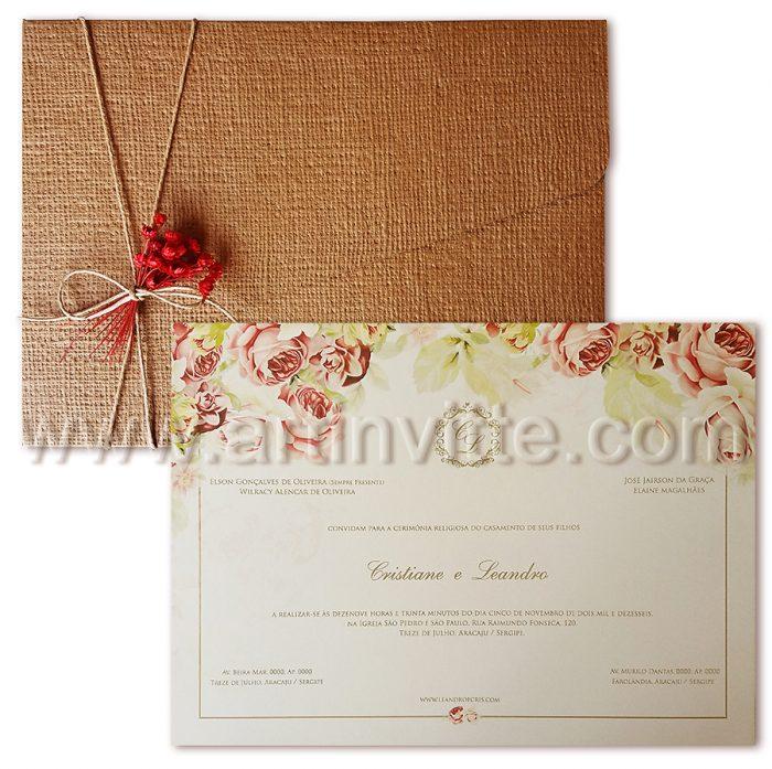 Convite de Casamento Rústico - Art Invitte Convites - convites rústicos
