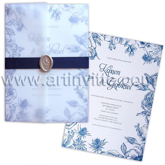 Convite de Casamento Floral azul com Vegetal Azul