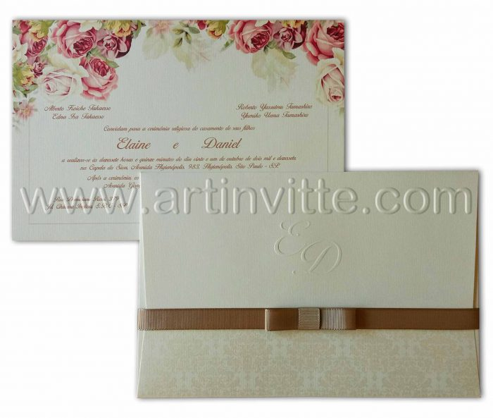 Convite de casamento floral HA-015
