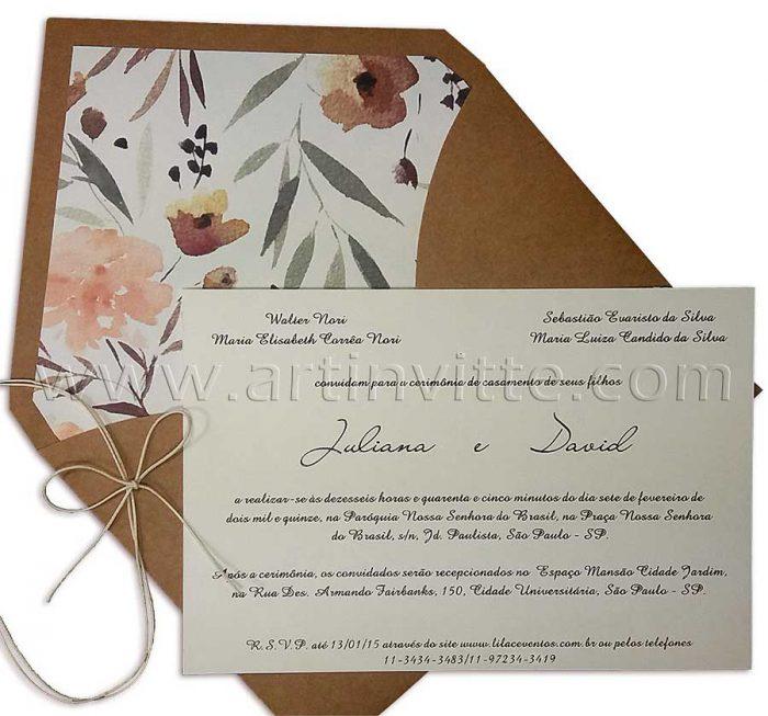 Convite de casamento Rústico Haia HA 017 - convites rústicos