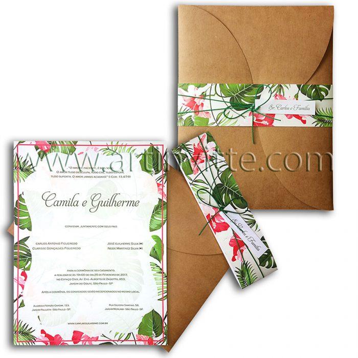 Convite de convite rústicoasamento rústico floral Haia HA 018