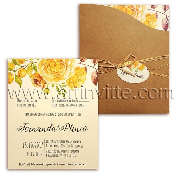 Convite de casamento rústico HA 019 - convite rústico