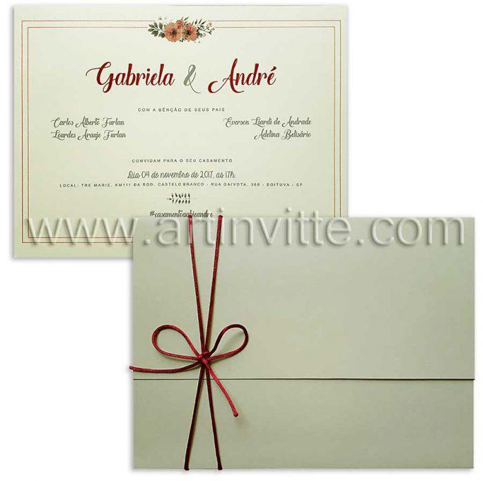 Convite de casamento Haia HA 020 Marsala