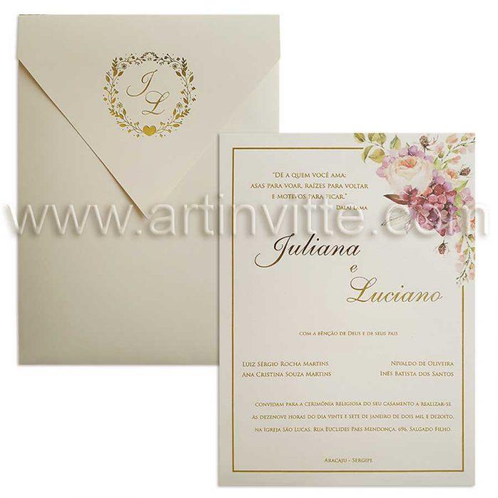 Convite de casamento modelo Haia HA 021 floral