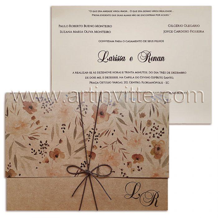 Convite de casamento rústico Haia HA 022 – Convite em papel Vergê Madrepérola com impressão em silk screen Marrom. Envelope em Kraft com impressão digital. Amarração em fio encerado cornodê café - convite rústico