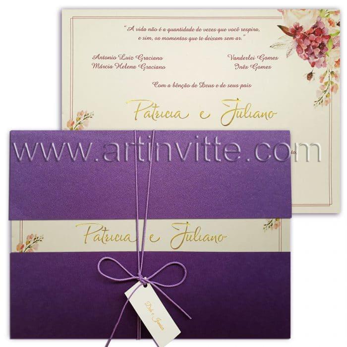 Convite de casamento floral Haia HA 023