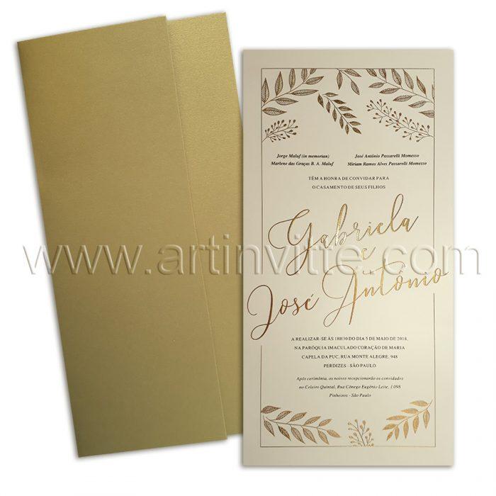 Convite de casamento Dourado Haia HA 027