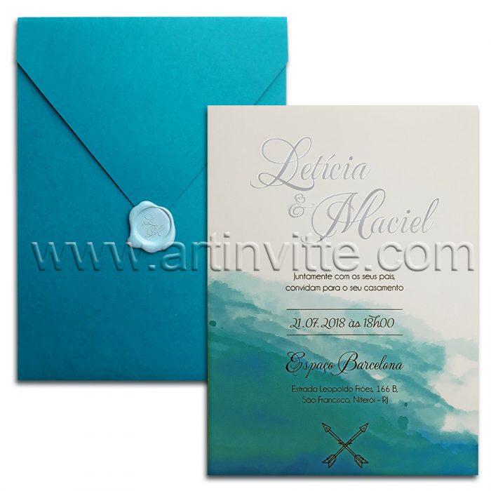 Convite de casamento na praia Moderno Haia HA 030 - Praia