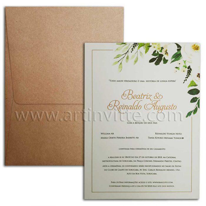 Convite rústico de casamento Praia Campo Haia HA 035