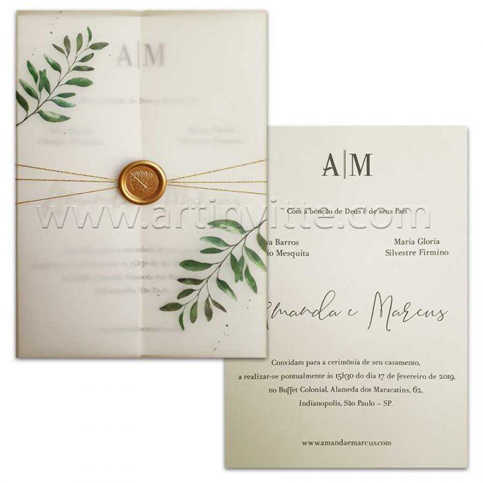 Convite de casamento com folhagem em papel Vegetal.