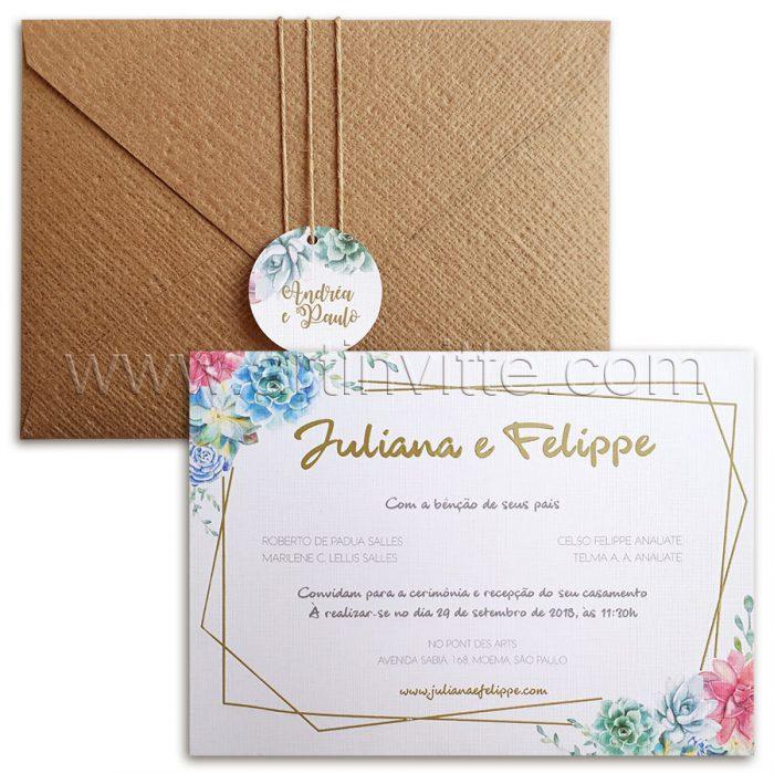 Convite de casamento Rústico Floral Haia HA 038