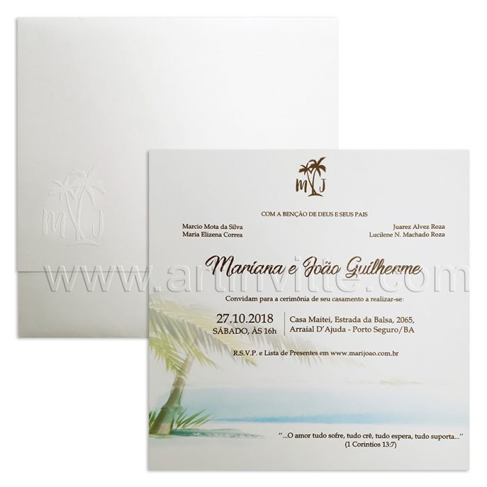 Convite de casamento moderno praia modelo Haia HA 039