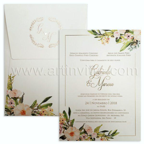 Convite de casamento Floral Clássico Haia HA 040