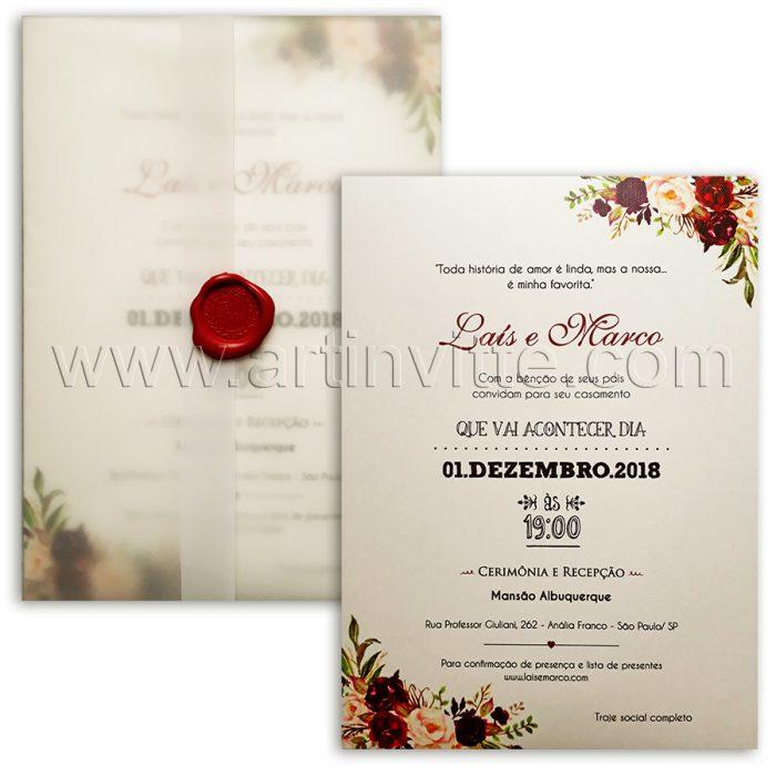Convite de casamento Praia Campo Haia HA 046