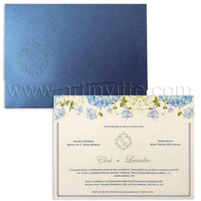 Convite de casamento Floral - Haia HA 050 - Hortênsias e Azul Me