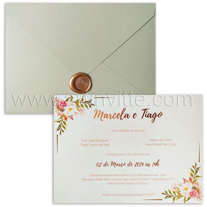Convite de casamento floral rosê - HA 051 - Art Invitte Convites