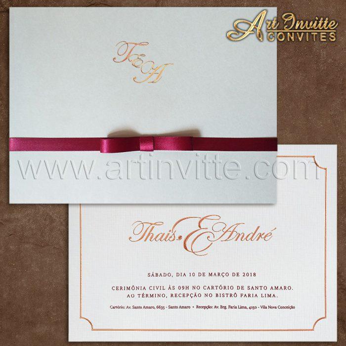 Convite de casamento Clássico - Haia HA 052 - Art Invitte Convites