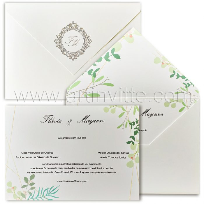 Convite de casamento Folhagem - Haia HA 053 - Art Invitte Convites