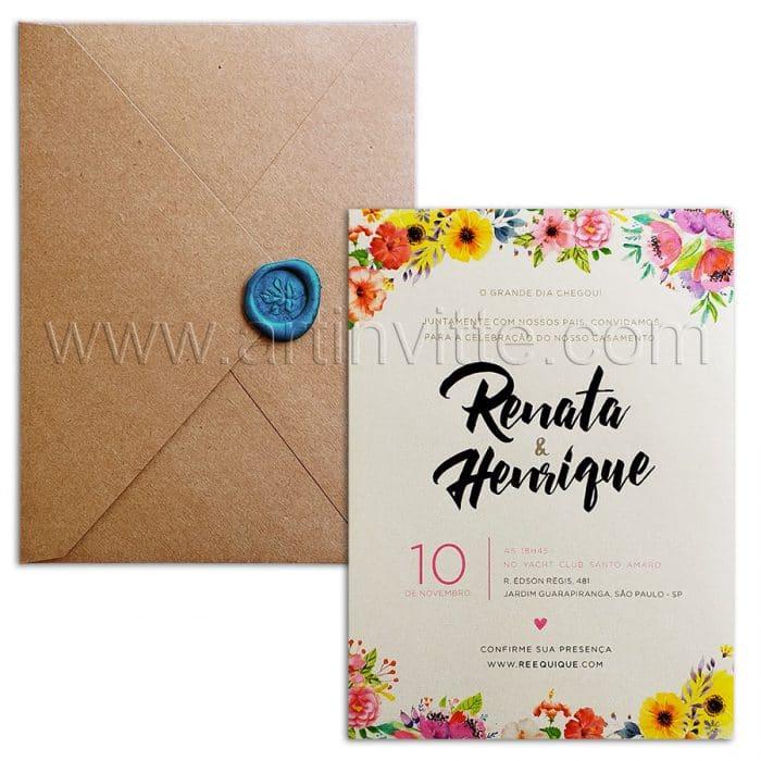 Convite de casamento Rustico - Haia HA 054 - Floral com Kraft e Lacre - Art Invitte Convites - convites rústicos