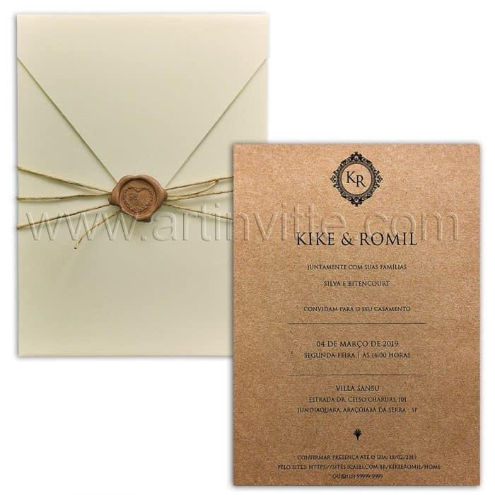 Convite de casamento Rústico Chic - Haia HA 055 - Kraft, sisal e lacre - Art Invitte Convites