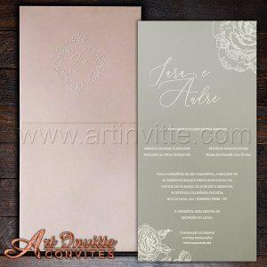 Convite de casamento Romântico - Haia HA 056 - Rosê com Cinza - Art Invitte Convites