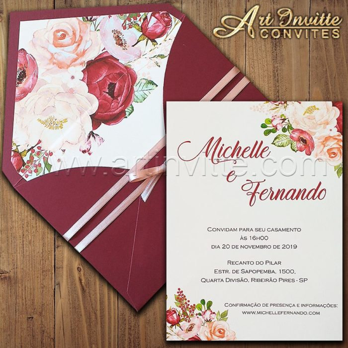 Convite de casamento Floral Haia HA 057 - Marsala e Offwhite - Art Invitte Convites