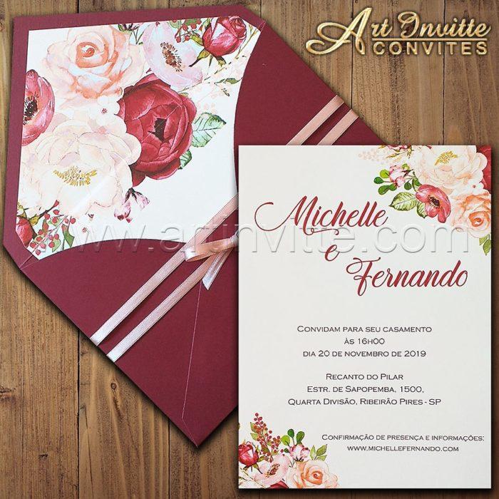 Convite de casamento Floral Haia HA 057 - Marsala e Offwhite - Art Invitte Convites