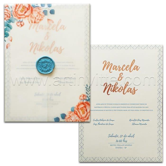 Convite de casamento Floral em Vegetal Haia HA 058 - Art Invitte Convites