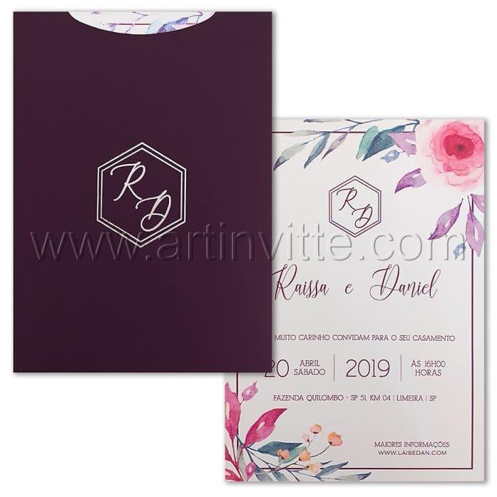 Convite de casamento Moderno - Haia HA 061 - Floral em Vegetal - Art Invitte Convites