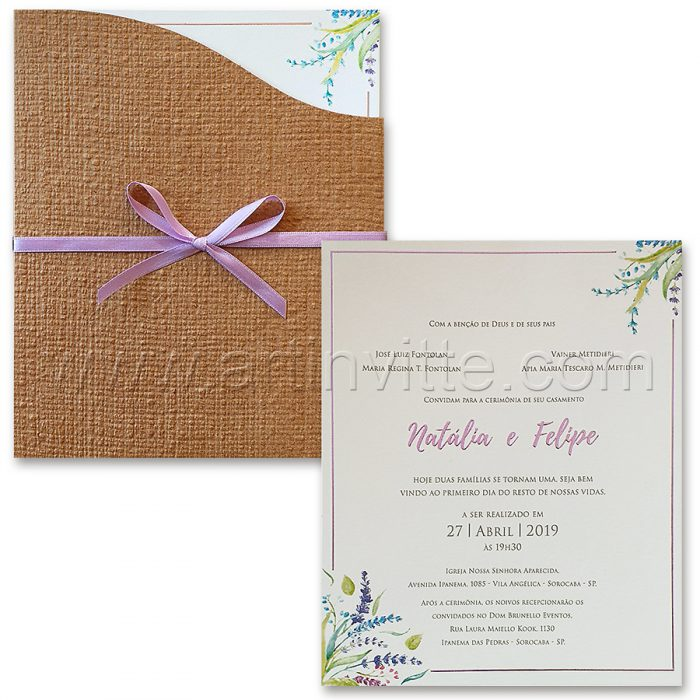 Convite de casamento Rústico - Haia HA 062 - Kraft e Floral - Art Invitte Convites - convites rústicos
