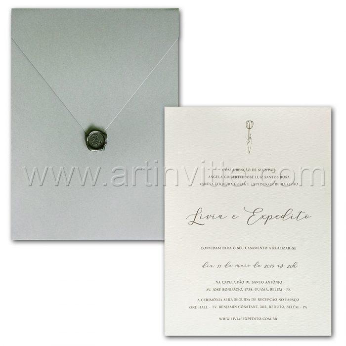 Convite de casamento Moderno - Haia HA 063 - Branco e cinza - Art Invitte Convites