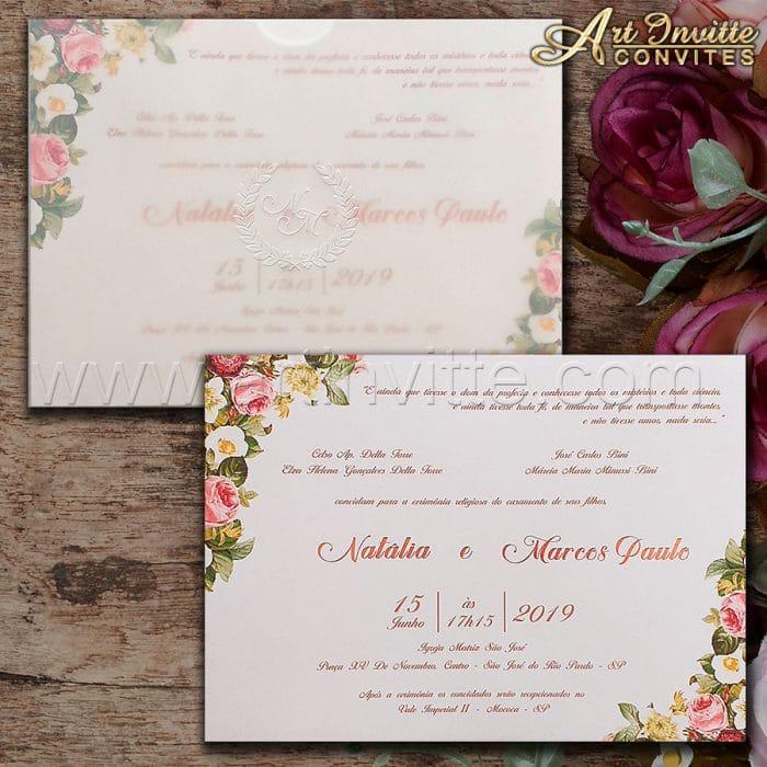 Convite de casamento Floral - Haia HA 064 - Vegetal e Floral - Art Invitte Convites