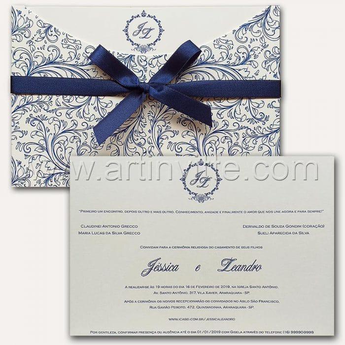 Convite de casamento Estampado - Haia HA 065 - Azul e OffWhite - Art Invitte Convites
