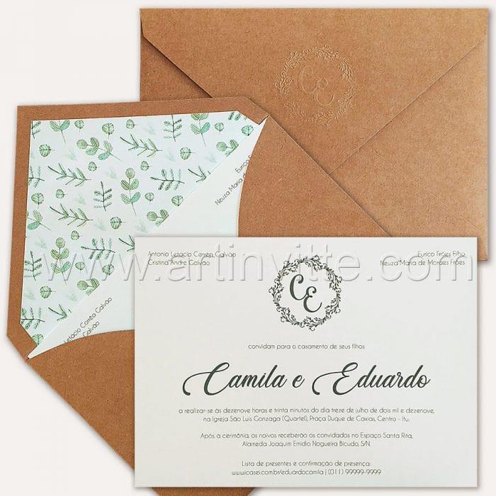 Convite de casamento Rústico - Haia HA 066 - Relevo seco no Kraft - Art Invitte Convites - convites rusticos