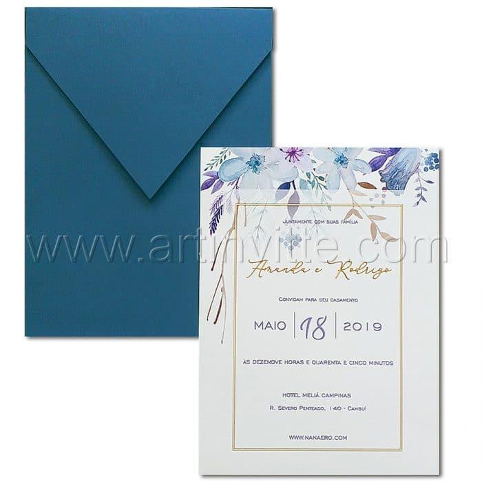 Convite de casamento Floral - Haia HA 067 - Azul e Dourado - Art Invitte Convites