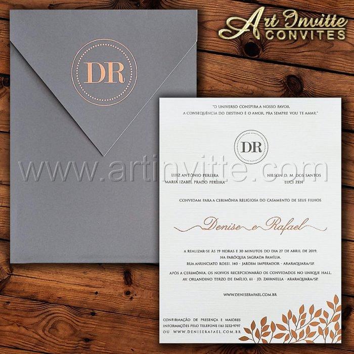 Convite de casamento Moderno - Haia HA 068 - Cinza e Rosê - Art Invitte Convites