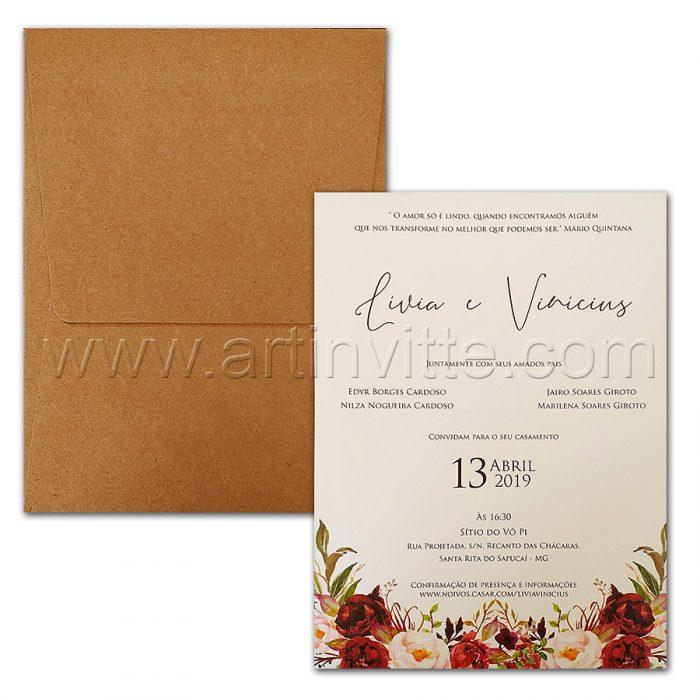 Convite de casamento Floral - Haia HA 070 - Flores e Kraft - Art Invitte Convites - convite rústico