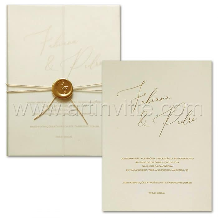 Convite de casamento Clássico - Haia HA 071 - dourado com vegetal - Art Invitte Convites