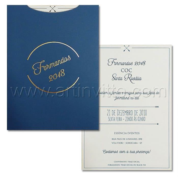 Convite de formatura Moderno - Haia HA 072 - Azul e Dourado - Art Invitte Convites