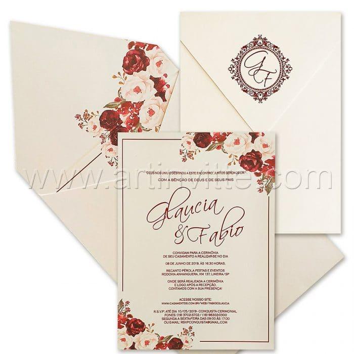Convite de casamento Floral - Haia HA 074 - Folhagem em Marsala - Art Invitte Convites - convite floral