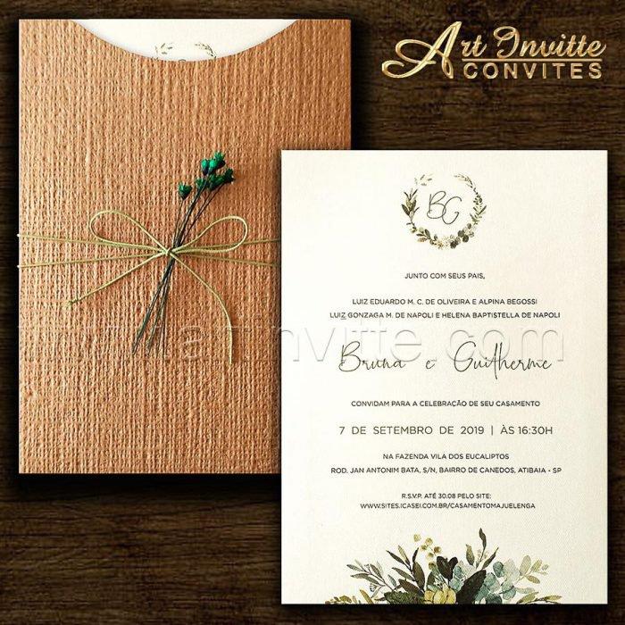 Convite de casamento Folhagem - Haia HA 075 - Folhas e Kraft Linhão - Art Invitte Convites