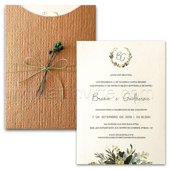 Convite de casamento Folhagem - Haia HA 075 - Folhas e Kraft Linhão - Art Invitte Convites Rústicos