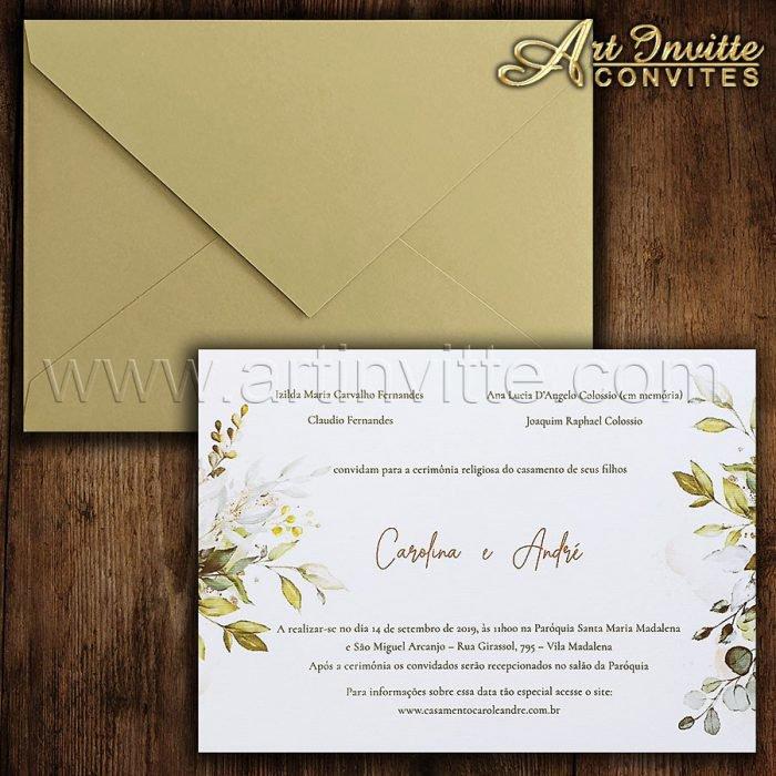 Convite de casamento Floral dourado HA 077 - Art Invitte Convites