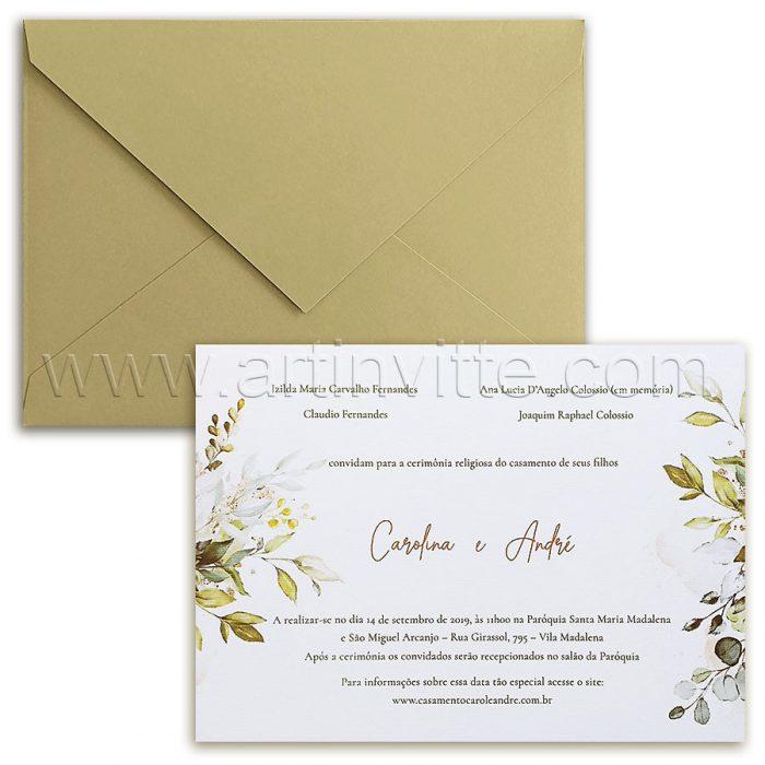 Convite de casamento Campestre Chic - Haia HA 077 - Folhagem em Dourado - Art Invitte Convites