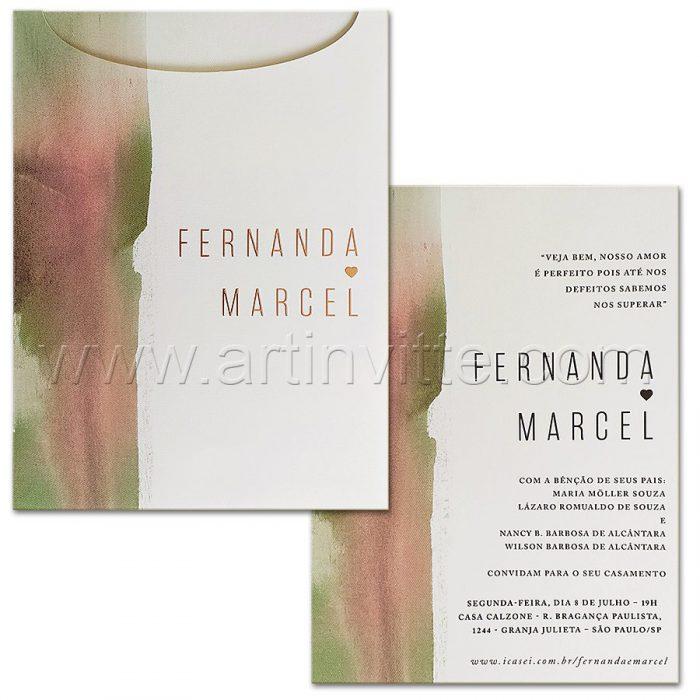 Convite de casamento Personalizado - Haia HA 078 - Aquarela moderna - Art Invitte Convites