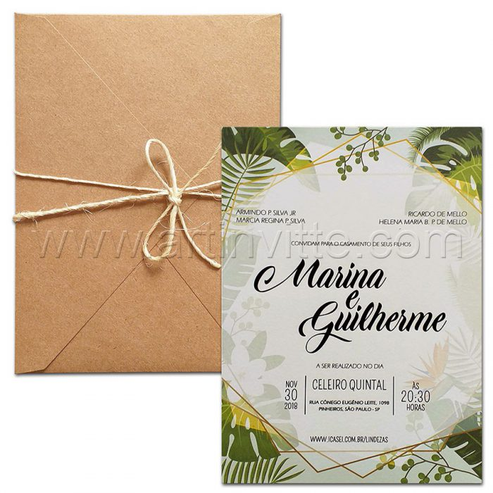 Convites de casamento Rústico Haia HA 079 convites rústicos