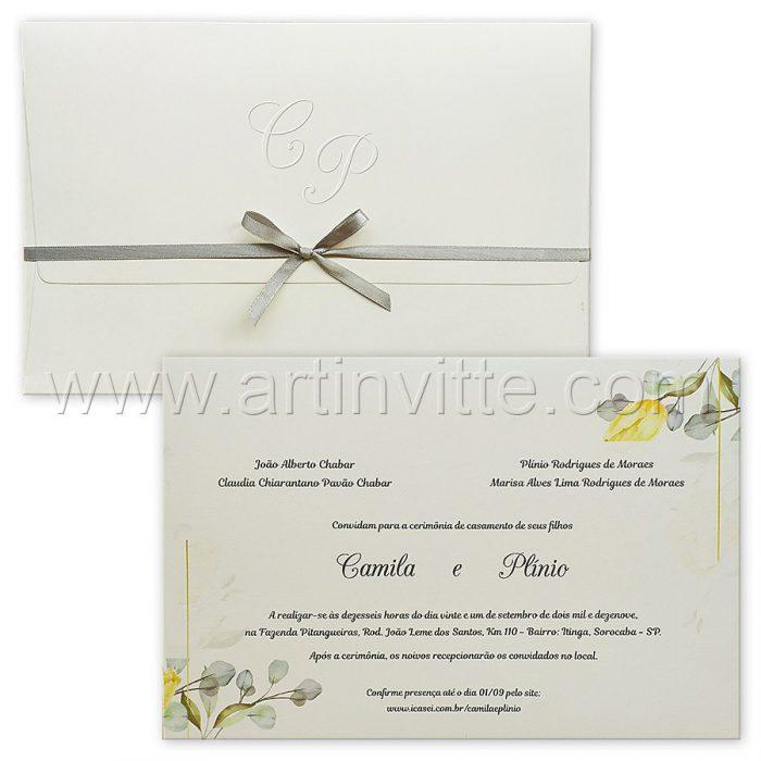Convite de casamento Floral - Haia HA 080 - Amarelo e Cinza - Art Invitte Convites