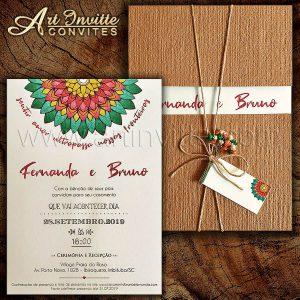 Convite de casamento rústico - Haia HA 081 - Kraft e Mandala - Art Invitte Convites