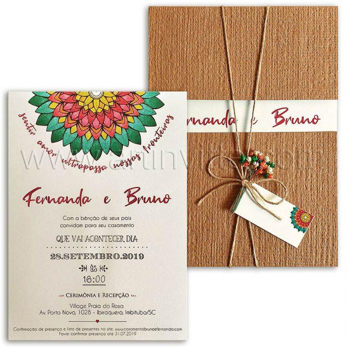 Convite de casamento rústico - Haia HA 081 - Kraft e Mandala - Art Invitte Convites rústicos