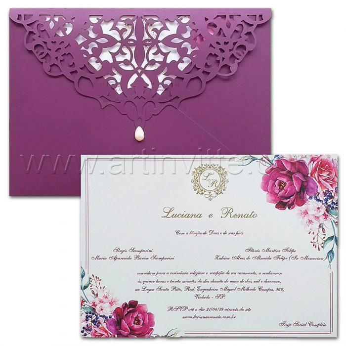 Convite de casamento Personalizado - Haia HA 083 - Aquarela roxa - Art Invitte Convites
